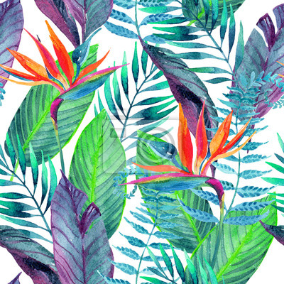 Canvas print Tropical leaves seamless pattern. Floral design background.