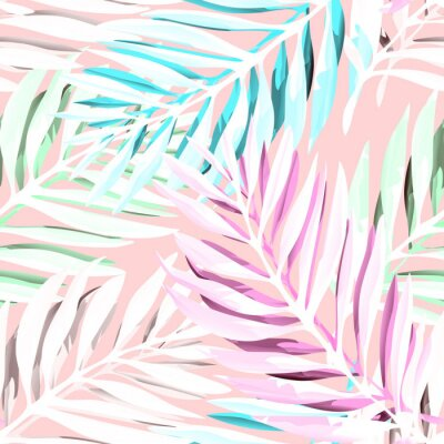 Canvas print Tropical palm leaves pattern. Trendy print design with abstract jungle foliage. Exotic seamless background. Vector illustration