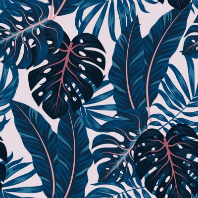 Canvas print Tropical seamless pattern with colorful plants. Floral seamless vector tropical pattern background with exotic leaves, jungle leaf. Exotic wallpaper, Hawaiian style. Seamless vector texture.