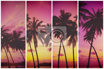 Tropical sunset over sea with palm trees, vintage stylized