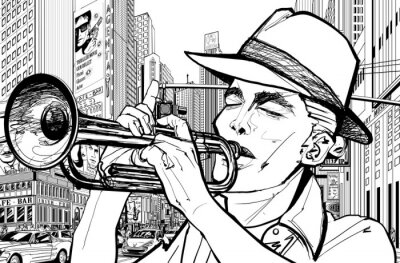 Canvas print trumpeter in new-york