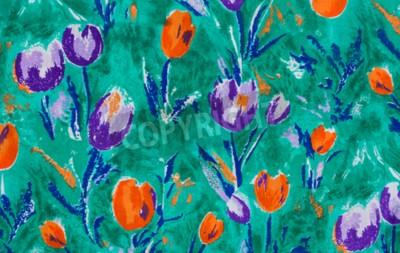 Canvas print Tulip print fabric close up background.