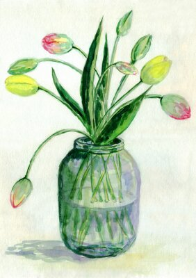Canvas print Tulips. A bouquet of flowers. Watercolor painting