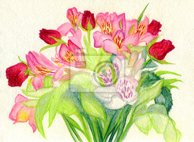 Tulips and roses. A bouquet of flowers. Watercolor painting