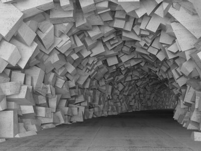 Canvas print Turning concrete tunnel interior, 3d render