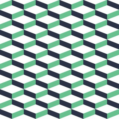 Canvas print Turquoise Geometric Illusion Seamless Pattern