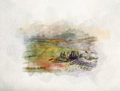 Canvas print Tuscany landscape at sunrise in watercolors.