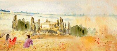 Canvas print Tuscany, romantic date. Watercolor