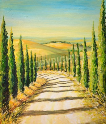 Canvas print Tuscany: rural landscape with road,fields and hills.Picture created with acrylic colours.
