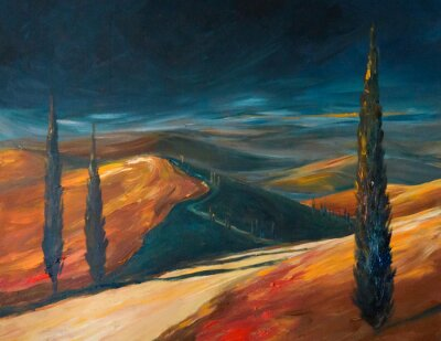 Canvas print Tuscany valley at sunset.Picture created with acrylics.