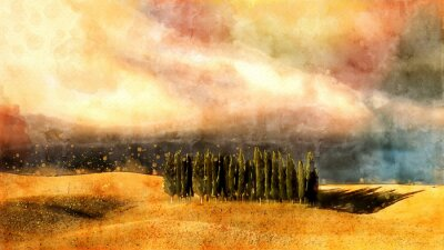 Canvas print Tuscany watercolor lanscape.