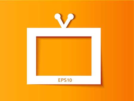 Tv set applique background on orange.