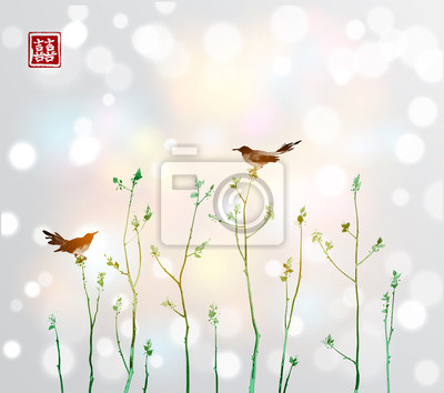 Two birds and green young trees branches with fresh leaves on white glowing background. Traditional oriental ink painting sumi-e, u-sin, go-hua. Contains hieroglyph - double luck.