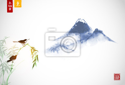 Two birds on bamboo and far blue mountains. Traditional oriental ink painting sumi-e, u-sin, go-hua.  Hieroglyphs - eternity, freedom, happiness, east