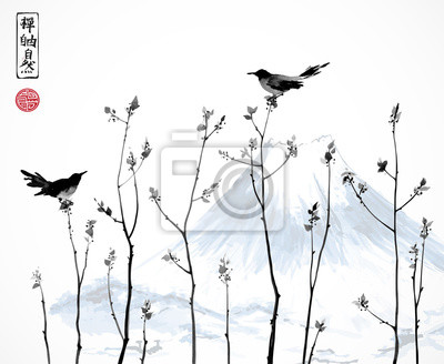 Two black birds on trees branches and Fujiyama mountain. Contains hieroglyphs - zen, freedom, nature