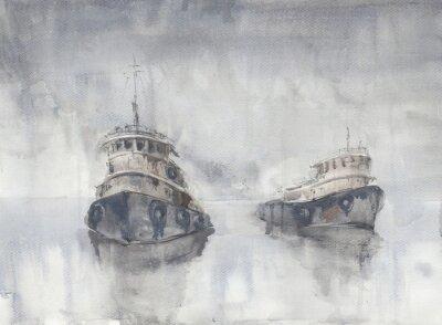 Canvas print Two boats in the sea. Foggy weather. Rain. Sea. Fishind ships.