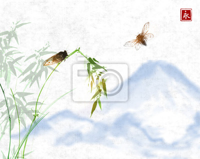 Two cicadas, bamboo branch and distant mountains. Traditional oriental ink painting sumi-e, u-sin, go-hua. Hieroglyph - eternity.