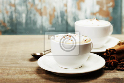Canvas print Two cups of coffee on the table