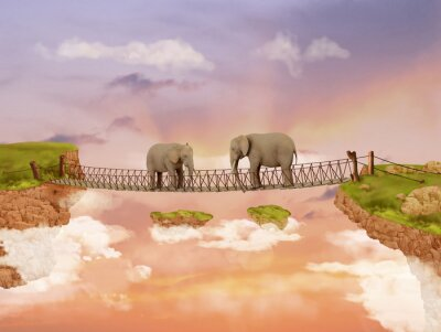 Canvas print Two elephants on a bridge in the sky