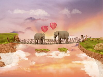Canvas print Two elephants on a bridge in the sky with balloons. Illustration