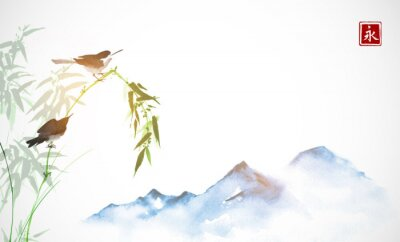 Two little birds, bamboo branch and far blue mountains. Traditional oriental ink painting sumi-e, u-sin, go-hua. Hieroglyph - eternity.