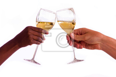 Canvas print Two people toasting with glasses of white wine