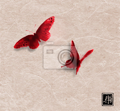 Two red butterflies on vintage paper background. Traditional Japanese ink wash painting sumi-e. Hieroglyph - joy