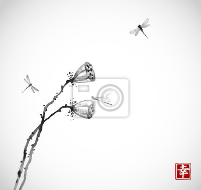 Two seed heads of a dry lotus flower and dragonflies on white background. Contains hieroglyph - happiness. Traditional oriental ink painting sumi-e, u-sin, go-hua