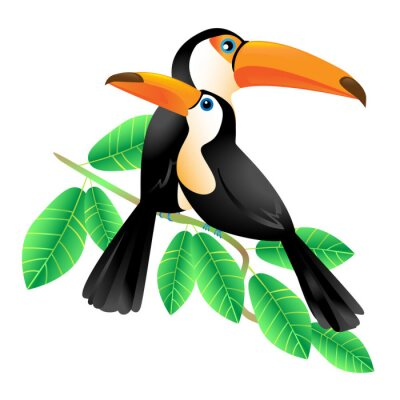 Canvas print Two Toucans Sitting on a Branch