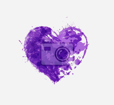Ultra violet purple grunge heart on white background. Color of the year 2018.