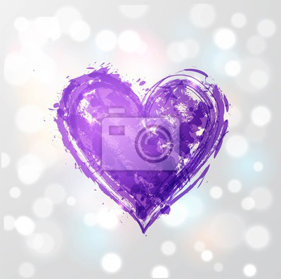 Ultra violet purple grunge heart on white glowing background. Color of the year 2018.