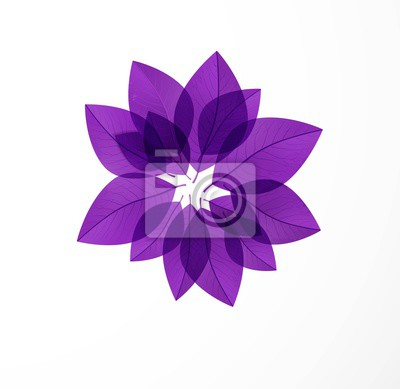 Ultra violet purple leaves in circle on white background. Color of the year 2018