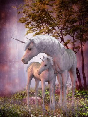 Canvas print Unicorn Mare and Foal