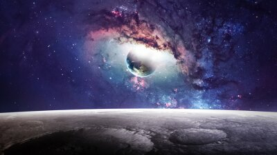 Canvas print Universe scene with planets, stars and galaxies in outer space showing the beauty of space exploration. Elements furnished by NASA