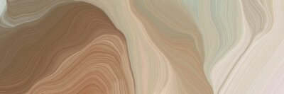 Canvas print unobtrusive header with elegant curvy swirl waves background design with rosy brown, light gray and pastel brown color