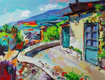 Canvas print Unusual original art composition of summer landscape. Autotrace image. Vector illustration. Oil painting on canvas. Modern Impressionism