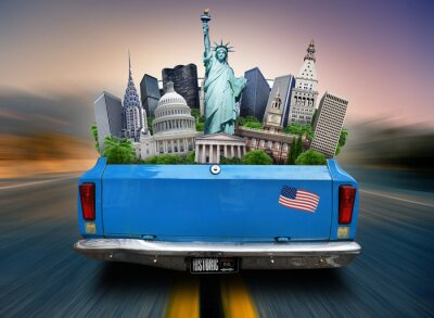 Canvas print USA, attractions USA in the trunk of a moving car