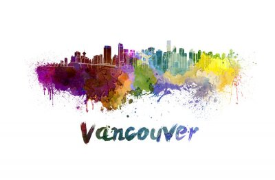Canvas print Vancouver skyline in watercolor