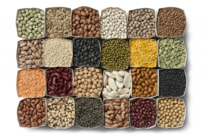 Canvas print Variety of dried beans and lentils