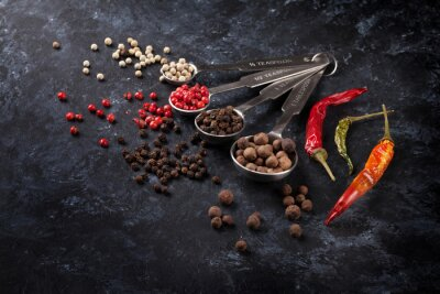 Canvas print Various peppercorn and chili pepper