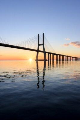 Canvas print Vasco da Gama bridge, sunrise at lisbon