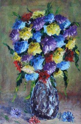 Canvas print vase of flowers, still life