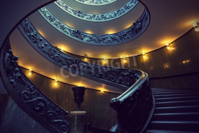 VATICAN CITY - SEPTEMBER 23, 2015: Spiral Staircase in Vatican Museum