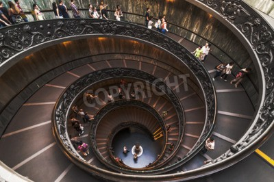 VATICAN CITY - SEPTEMBER 27: The unique staircase built by Bramante inside the Vatican Museum on September 27, 2014 in Vatican City