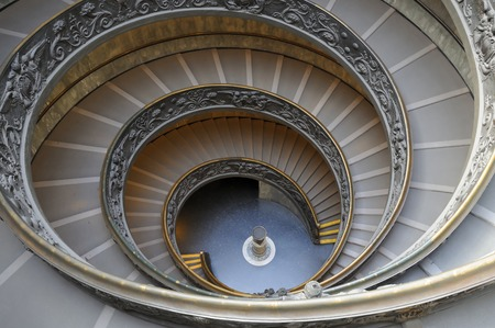 Vatican City, Vatican City State - March 6, 2015: Staircase of the Vatican Museums without people. March 6, 2015 Vatican City, Vatican City State