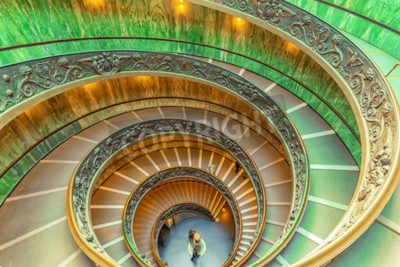 VATICAN-CITY, VATICAN- MAY 09, 2017: Inside the Vatican Museum .Bramante Staircase. Name given to two staircases in the Vatican Museums in the Vatican City State; the original stair, built in 1505.