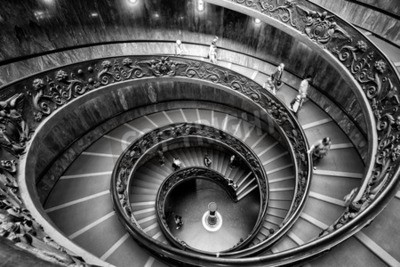 VATICAN - MAY 14, 2014: Spiral staircase with beautiful rails in Vatican Museum.
