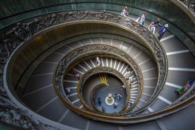 VATICAN - MAY 25, 2016: The spiral staircase in the Vatican Museum, Italy