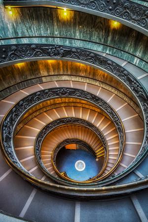 Vatican museum spiral staircase taken vertically, Vatican, Italy