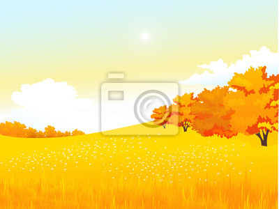 Vector autumn rural landscape with meadow and forest